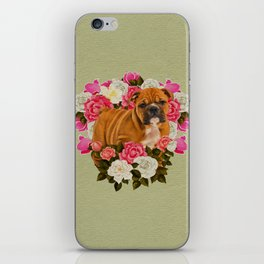 English Bulldog Puppy with flowers iPhone Skin