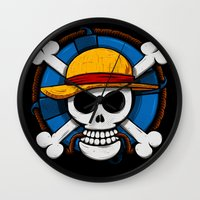 luffy Wall Clocks featuring On pirate by le.duc