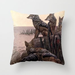 Vintage Jackals Painting (1909) Throw Pillow