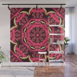 Fantasy flower kaleidoscope with optical effects Wall Mural