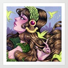 Dreams of Spring tiny gouache painting Art Print