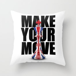 Make Your Move UK / 3D render of chess king with British flag Throw Pillow