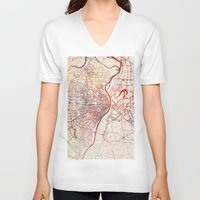 louis V-neck T-shirts featuring Saint Louis by MapMapMaps.Watercolors