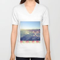 santa monica V-neck T-shirts featuring Santa Monica Beach by Kurt Schawacker
