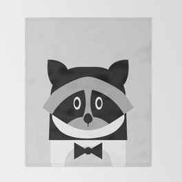 Racoon Bw Throw Blanket