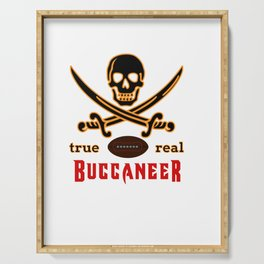 True Buccaneer American Football Design black lettering Serving Tray