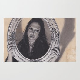 Realism Charcoal Drawing of Beautiful Woman with Antique Frame Rug