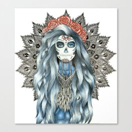 Day of the Dead Woman Mandala Canvas Print