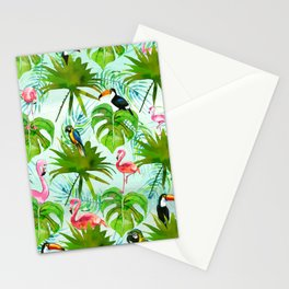 Tropical green pink colorful birds watercolor floral Stationery Cards