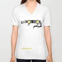 crocodile V-neck T-shirts featuring Crocodile by Hinterlund