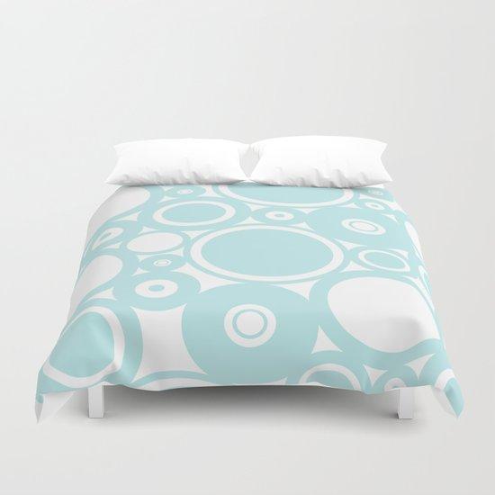Blue dots and circles - abstract patterns - aqua Duvet Cover