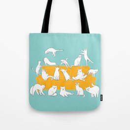 Cute Cats on Yellow Couch | Blue Tote Bag