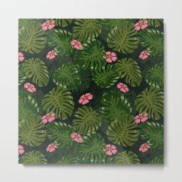 Modern Green Flower And Tropical Jungle Metal Print