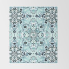 Soft Mint & Teal Detailed Lace Doodle Pattern Throw Blanket