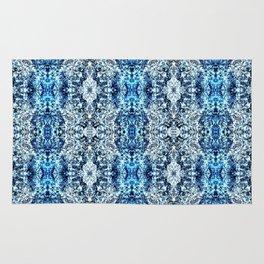 Beautiful Blue Foklore Damask Pattern Rug