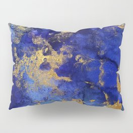 Gold And Blue Indigo Malachite Marble Pillow Sham