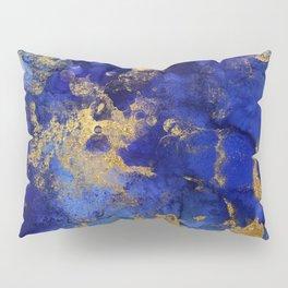 Gold And Blue Indigo Malachite Marble Pillow Sham