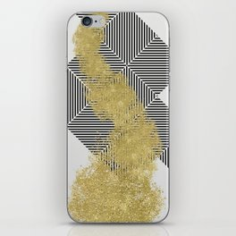 modern gold dust and line pattern design iPhone Skin