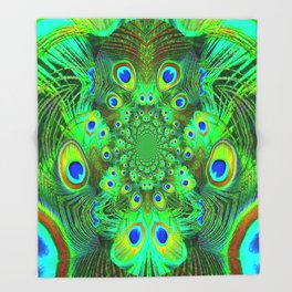 Ornate Green-Gold-Purple Peacock Feathers Art Throw Blanket