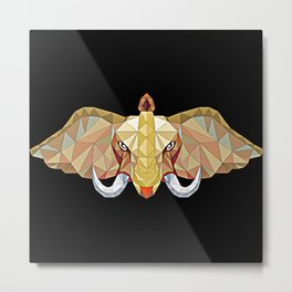 Elephant illustration in a modern beautiful origami jewel colors Metal Print