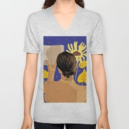 You're never alone when lost in the magic of a book #painting #illustration Unisex V-Neck