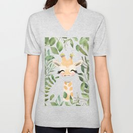 Against Virus - Hand Drawn Watercolor Giraffe With Mask Unisex V-Neck