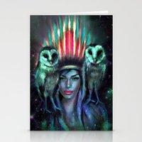owls Stationery Cards featuring Owls by Slaveika Aladjova