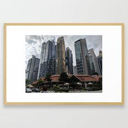Singapore CBD and Lau Pa Sat Framed Art Print