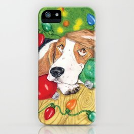 Holiday Dreaming, Basset Hound and mixed breed dog iPhone Case
