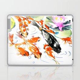 Nine Koi Fish, 9 KOI, feng shui artwork asian watercolor ink painting Laptop & iPad Skin