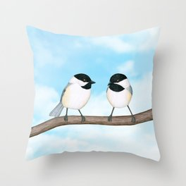 chickadee chitter chatter Throw Pillow