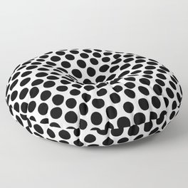 Black Hand Painted Spots on White Floor Pillow
