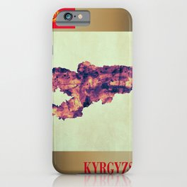 Kyrgyzstan Map with Flag iPhone Case
