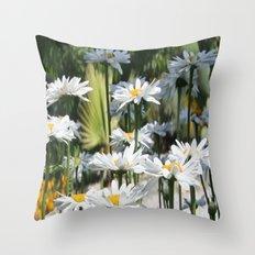 A Garden of White Daisy Flowers Throw Pillow