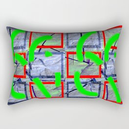 Collage with cracked wall Rectangular Pillow