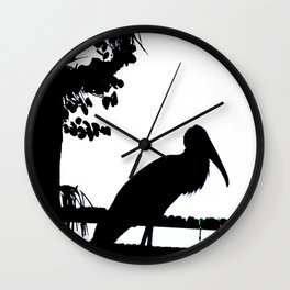 Wood stork Wall Clock