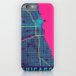 Chicago Neon City Map, Chicago Minimalist City Map iPhone Case