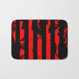 Blood Bars - Geometric, black and red stripes pattern, blood red, paint splat artwork Bath Mat