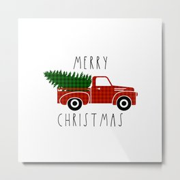 Black and White Buffalo Check Gingham Plaid pattern Christmas truck with words Merry Christmas Metal Print
