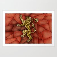tyrion Art Prints featuring House Lannister Stained Glass by itsamoose