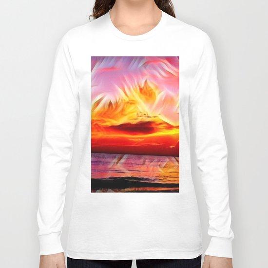 Sky on Fire (Sunset over Great Lake Michigan Beach) Long Sleeve T-shirt