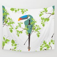 violin Wall Tapestries featuring Violin Toucan by Djuliansjah