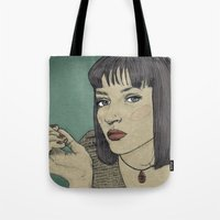 mia wallace Tote Bags featuring Mia (Mia Wallace Pulp Ficion) by Becky Ryan