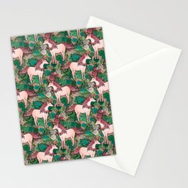Rose Gold Unicorns in a Garden Stationery Cards