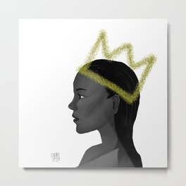 Queen With Crown in Grayscale, Looking to Future Metal Print