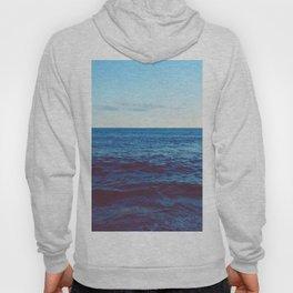 Minimalist Blue Waters Ocean Horizon Landscape Hoody