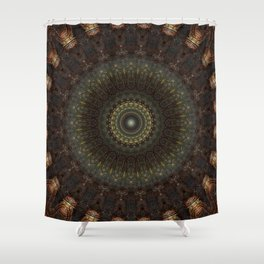 Ornamented mandala in green, red and brown tones Shower Curtain