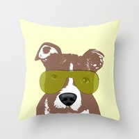 pit bull Throw Pillows featuring American Pit Bull Terrier by ialbert