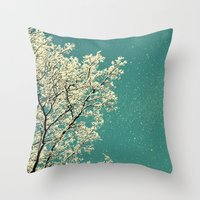 snow white Throw Pillows featuring snow by Claudia Drossert