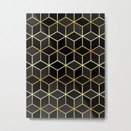 Pattern of squares with gold I Metal Print